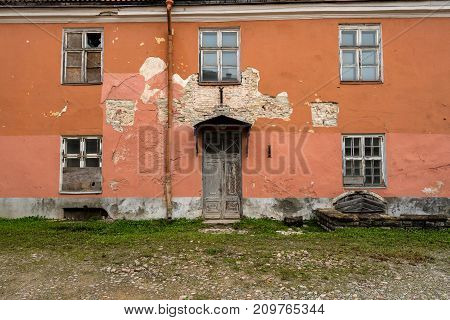 Dilapidated old house in the Toompea district of Old Town Tallinn in Estonia