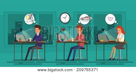 Concept of big dreams. Business people sitting at the table in the office and dreaming. Flat design, vector illustration.
