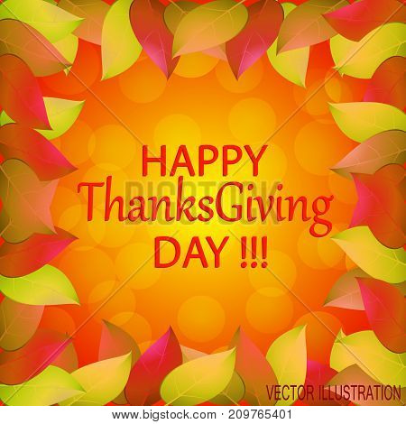 Happy Thanksgiving day. Autumn background with yellow leaves. Templates for place cards banners flyers presentations reports.Stock vector illustration.