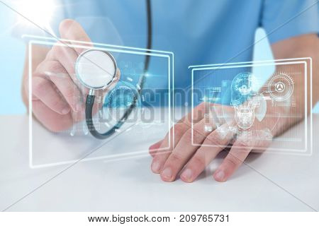 Midsection of surgeon holding stethoscope against 3D blue vignette background