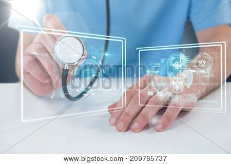 Midsection of surgeon holding stethoscope against composite 3D image of different application interface