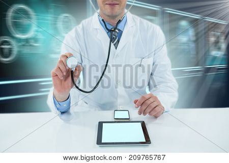Doctor examining with stethscope against composite 3D image of different application interface