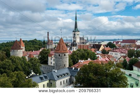 Rooftop panorama from viewing gallery in Toompea over the old town of Tallinn Estonia poster