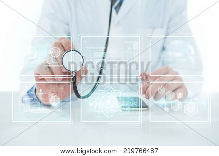 Midsection of doctor holding stethoscope against white background with 3D vignette