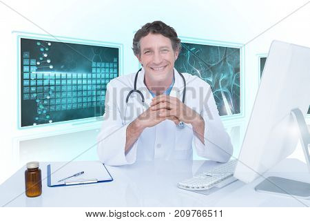 Portrait of happy doctor against white background with 3D vignette