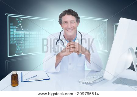Portrait of happy doctor against composite 3D image of different interface