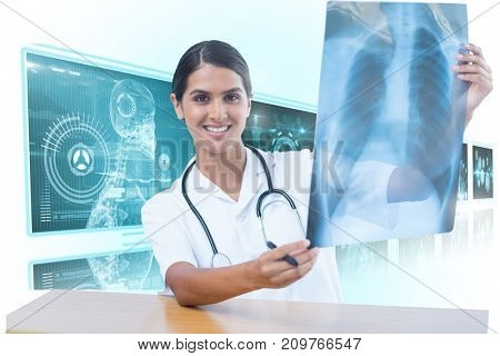 Female doctor examining chest X-ray against white background with 3D vignette