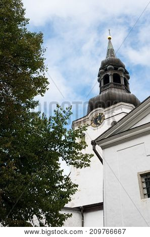 Bell Tower of the St Mary's Cathedral in Toompea district of Old Town of Tallinn in Estonia