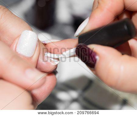 manicure in beauty salon . photo in the studio