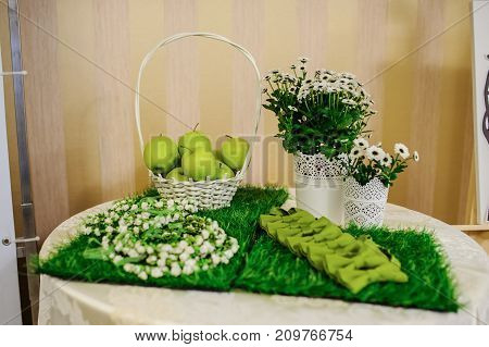 Wedding Composition Of Green Bow Ties