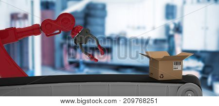 3D image of production line with open cardboard box against empty garage