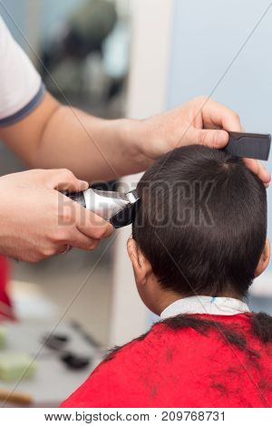 Men's haircut at the beauty salon . photo in the studio