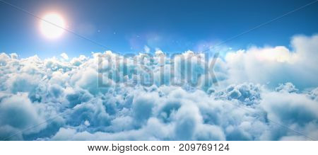 Scenic view of bright sun over white cloudscape against blue sky during sunny day