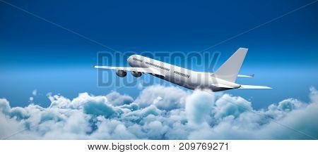3D graphic airplane against close up of clouds