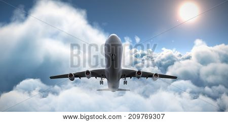 3D graphic airplane against idyllic view of sun over cloudscape during sunny day
