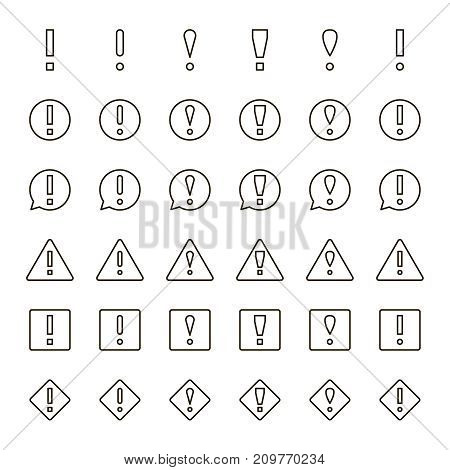 Info icon set. Collection of high quality outline technology pictograms in modern flat style. Black information symbol for web design and mobile app on white background. Mark line logo.