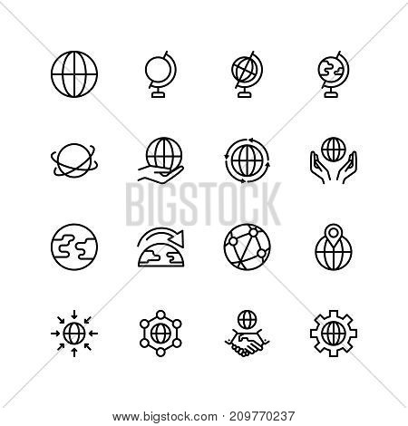 Globe icon set. Collection of high quality outline world pictograms in modern flat style. Black earth symbol for web design and mobile app on white background. Info line logo.