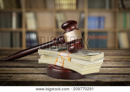 Money wooden gavel background close-up paper business