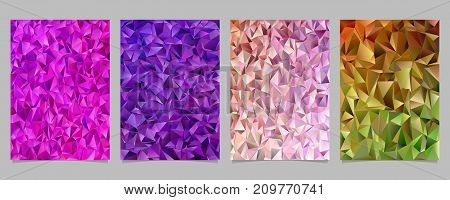 Geometrical tiled triangle mosaic page template set - vector flyer background graphic designs from colored triangles