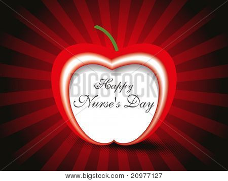 abstract rays background with isolated apple for nurse day