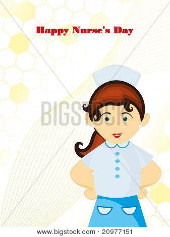 abstract medical background with cute nurse, vector illustration