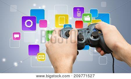 Male hands using joystick business people high tech information technology