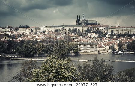 Panoramic View Of Old Prague, Vintage Tone