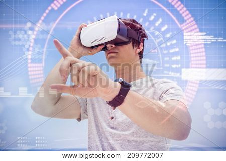 Composite image of face against man using vr 3D headset against the blue sky