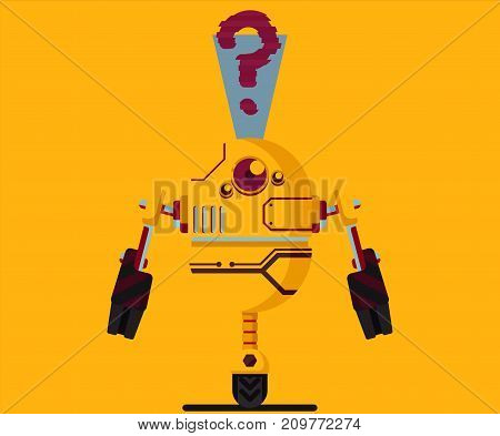 robot illustration flat art design graphic rasterized