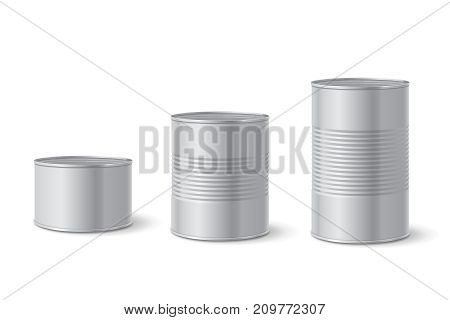 Canned metal packaging. Aluminum tin can for food. Realistic vector.