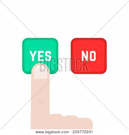 yes or no buttons like dilemma. concept of polling, correct, gesture, suggestion, assessment, accept, true, consent, assent, election. flat style graphic design vector illustration on white background