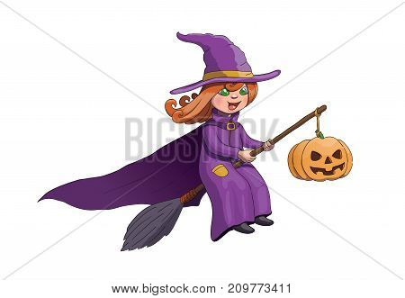Halloween Witch on Broom With Pumpkin. Vector Illustration EPS 10