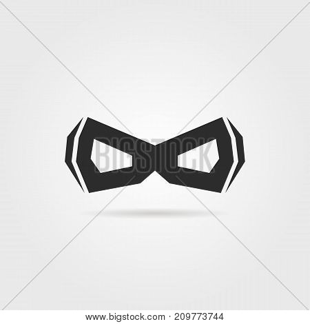 black simple superhero mask with shadow. concept of mascot, mystery, winner, comic book person, worthy, mythology, disguise. flat style trend logotype design vector illustration on gray background