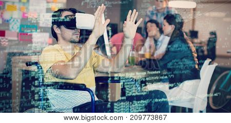 Image of data against physically disabled man on wheelchair using vr 3D headset