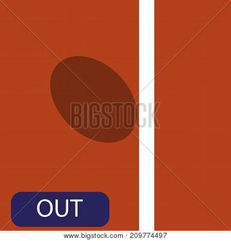 The strike icon in the big tennis on the ground. Challenge of the big tennis. Vector illustration