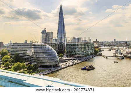 LONDON, GREAT BRITAIN - MAY 16, 2014: It is an aerial view of Southwark's modern architecture from the height of the Tower Bridge.