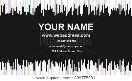 Modern abstract business card template design - vector identity card illustration with vertical stripes in light colored tones on black background