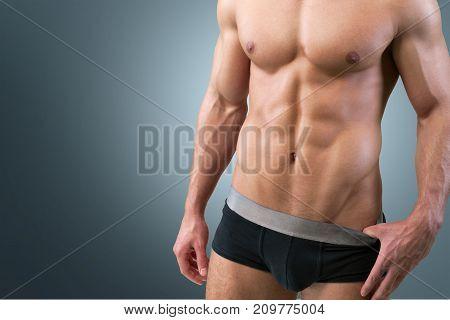 Sport man body sportsman muscular image blue