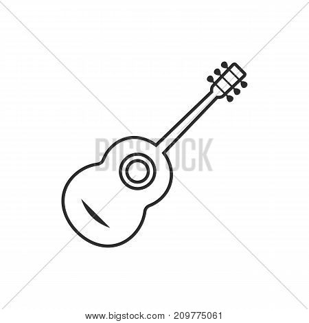 thin line classical guitar. concept of resonance, ukulele, entertainment, phonics, fest, music making. flat minimal style trend modern logotype graphic design vector illustration on white background
