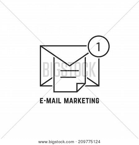 e-mail marketing with thin line notice. concept of seo, global e-commerce, user interface, mailing, postal, chat. flat linear style trend modern logotype design vector illustration on white background