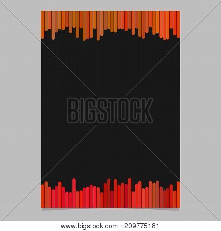 Colored flyer, brochure template - blank vector stationery design with vertical stripes in red tones on black background