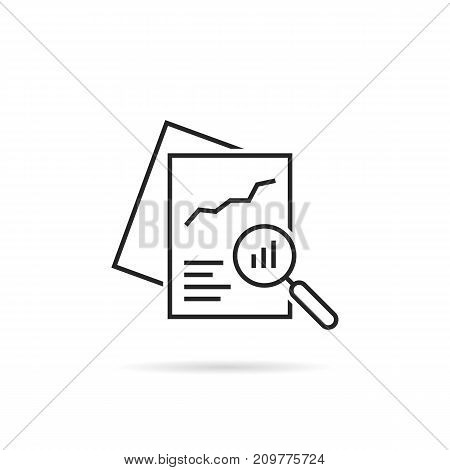 black linear document like auditing. concept of auditor, fax, seo, scrutiny, annual verification, evaluation, info, growth, forecast. flat style logotype design vector illustration on white background