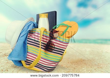 Bag hat beach straw hat leisure white objects