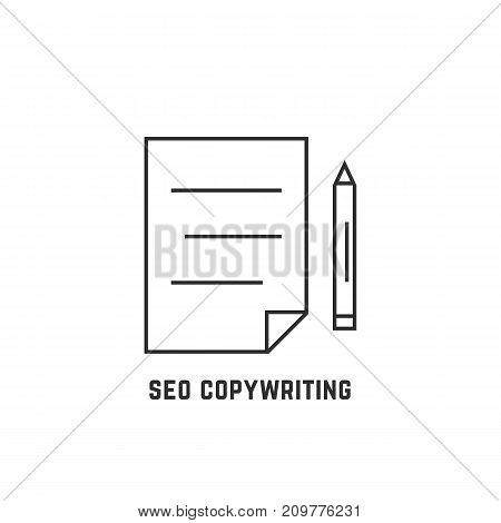 seo copywriting with thin line document. concept of blogging, copywriter, education, keywording, publication, survey. flat style trend modern logotype design vector illustration on white background