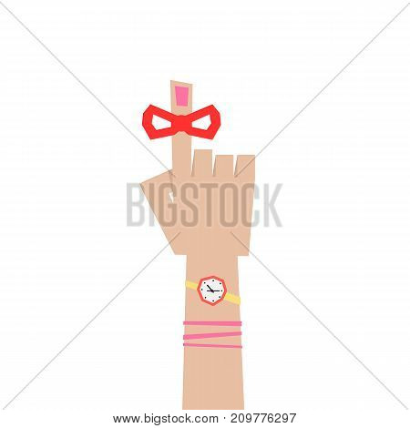 abstract woman forefinger like reminder. concept of memo, red tape on index finger, deadline, calendar, palm, exclamation. flat style trend graphic logo design vector illustration on white background