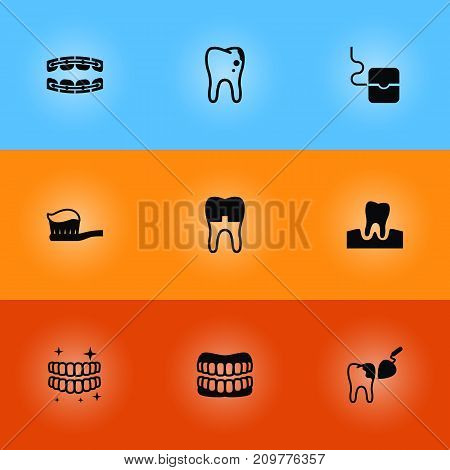 Collection Of Stabilize, Halitosis, Gingivitis And Other Elements.  Set Of 9 Dentist Icons Set.