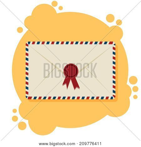 Air mail envelopes, postal stamps, on the yellow and white background, vector illustration