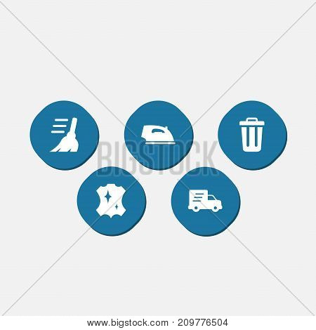 Collection Of Shipping, Iron, Garbage Container And Other Elements.  Set Of 5 Harvesting Icons Set.