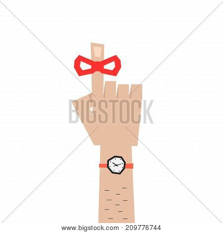 man forefinger icon like reminder. concept of memo, red tape on index finger, deadline, calendar, palm, exclamation. flat style trend graphic logo design vector illustration on white background