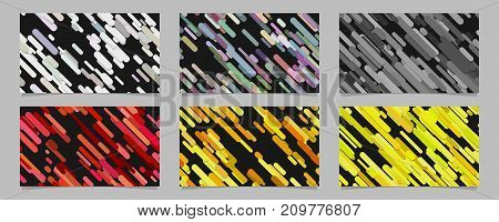 Seamless geometrical random rounded diagonal stripe pattern card background template set - abstract vector brochure design